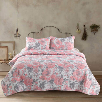 Dixie Pink/Gray Floral Quilt Set view 1