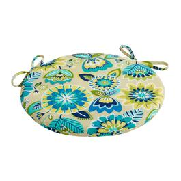 Yellow/Blue Floral Indoor/Outdoor Round Bistro Seat Pad