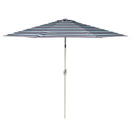 9' Blue/Red/Tan Stripe Crank/Tilt Market Umbrella
