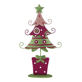 Green and Pink Glitter 3-Tiered Tree