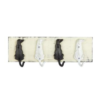 "5""x15"" Black/White Dogs 4-Hook Coat Hanger"