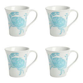 Turquoise Coastal Crab Mugs, Set of 4 view 1