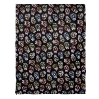 Multicolored Day of the Dead Skulls Throw Blanket