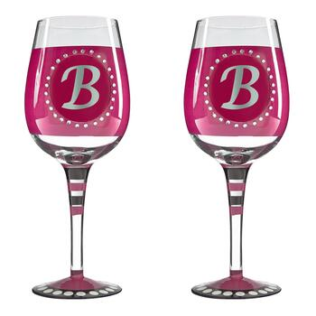 "Bedazzled Monogram ""B"" Wine Glasses, Set of 2"