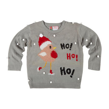 """Ho Ho Ho"" Santa Bird Ugly Holiday Sweater view 1"