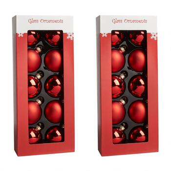 10-Count Red Shiny/Matte Glass Ornaments, Set of 2