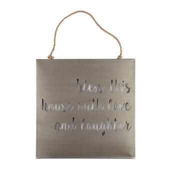 "20"" ""Bless This House"" Laser Cut Metal Wall Decor"