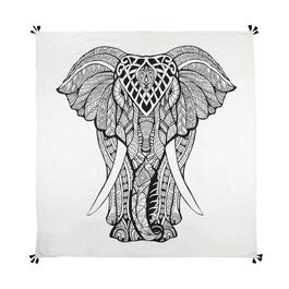 "60"" Black/White Elephant Tassel Tapestry Throw"