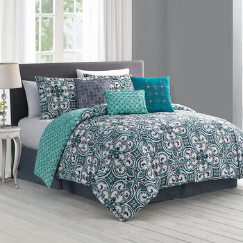 Regan Fleur Scroll Reversible Comforter Set, 7-Piece view 1