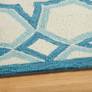 Blue/Ivory Geo Circles Hand-Hooked Area Rug view 2