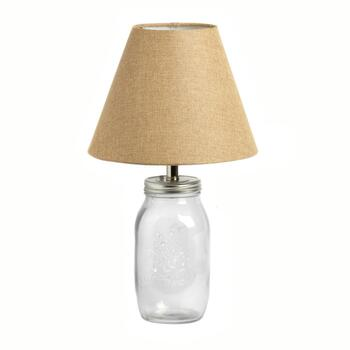 Glass Mason Jar Lamp Base with Fabric Shade