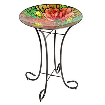 "17"" Red Flower Mosaic Bird Bath"