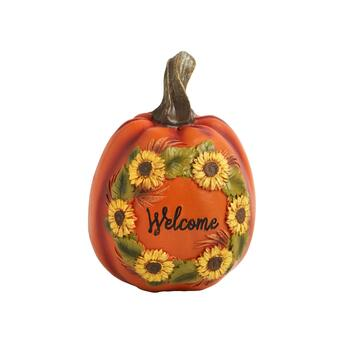 "7"" ""Welcome"" Flower Wreath Etched and Painted Pumpkin Decor, Set of 2"