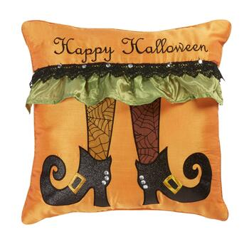 """Happy Halloween"" Witch Square Throw Pillow"