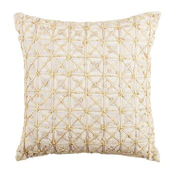 Metallic Embellished Grid Square Throw Pillow