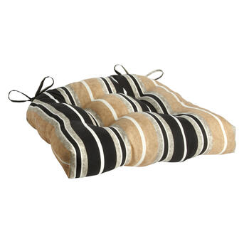 Beige/Black Stripe Indoor/Outdoor Single-U Seat Pad view 1