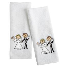 Bride and Groom Embroidered Hand Towel Set