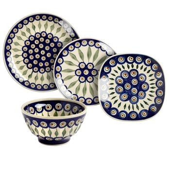 Polish Pottery Peacock Feathers Handmade Dinnerware Collection