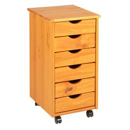 "13"" Wooden 6-Drawer Rolling Cabinet"