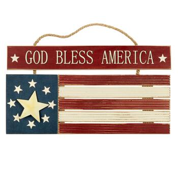 "20"" Wood ""God Bless America"" Flag Hanger"