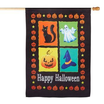 "28""x40"" Sueded ""Happy Halloween"" Pumpkin Border Yard Flag"