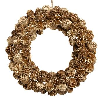 "19"" Gold Pinecone Wreath"