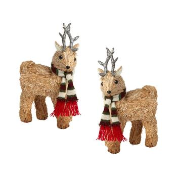 "11"" Standing Deer with Burgundy Scarf, Set of 2"