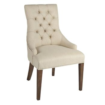 Tufted-Back Upholstered Sleigh Dining Chair with Nailheads