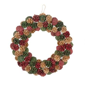 "19"" Red/Green/Gold Snowy Pinecone Wreath"