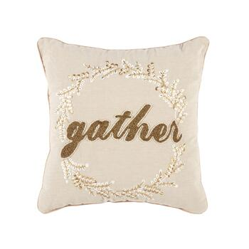 """Gather"" Tan Embellished Square Throw Pillow"