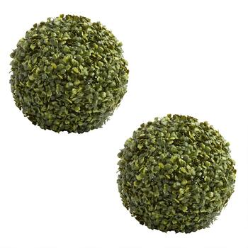 Artificial Boxwood Ball Topiaries, Set of 2