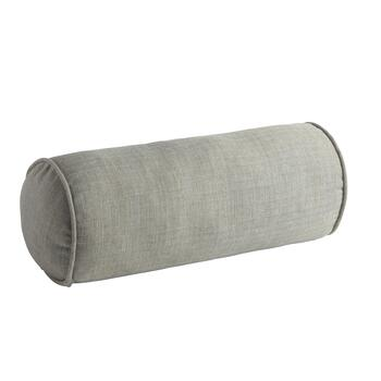 Solid Gray Woven Indoor/Outdoor Lumbar Roll Pillow