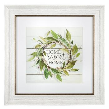 "12"" ""Home Sweet Home"" Leaf Wreath Framed Wall Decor"