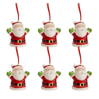 Santa with Green Mittens Ceramic LED Ornaments, Set of 6