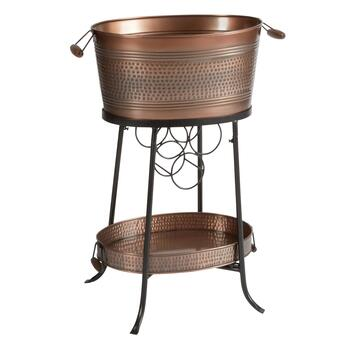Copper Metal Beverage Tub with Stand