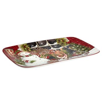 Snowman's Sleigh Ceramic Serving Platter view 2