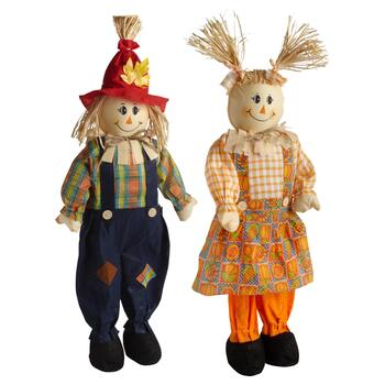 "33"" Orange Farm Boy and Girl Scarecrow Set"