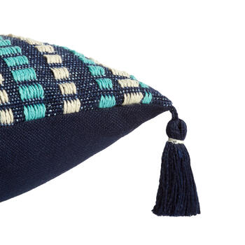 Navy/Aqua Woven Indoor/Outdoor Throw Pillow with Tassels view 3
