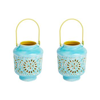 "6"" Decorative Enamel Metal Lanterns, Set of 2"