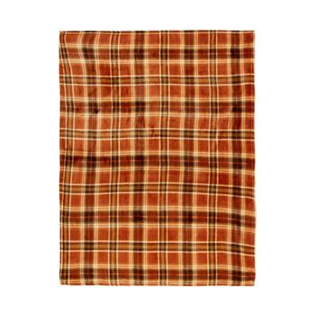 "50""x60"" Orange/Yellow Plaid Throw Blanket"