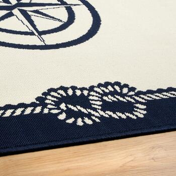 Navy Blue Compass Rope Border All-Weather Rug view 2