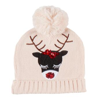 8461f6053c518 Pink Sequined Reindeer Ugly Knit Christmas Hat with Pom-Pom ...