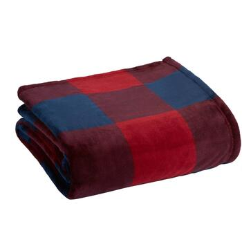 Famous Maker Red/Blue Plaid Plush Blanket