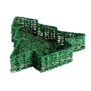 Green Metallic Christmas Tree Woven Papercord Tray