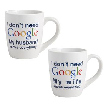"""I Don't Need Google"" Husband/Wife Mug Set"