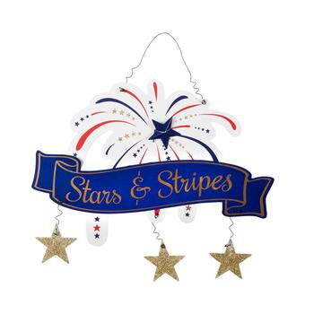 "19"" ""Stars & Stripes"" Fireworks Wood & Metal Hanging Sign"