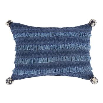 Blue Boho Chic Fringe Throw Pillow