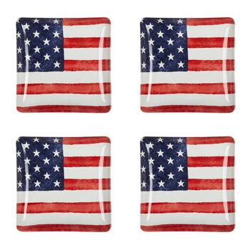 USA Old Glory Square Salad Plates, Set of 4