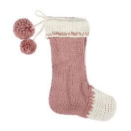 Pink/White Hand-Knit Stocking with Pom-Poms view 1