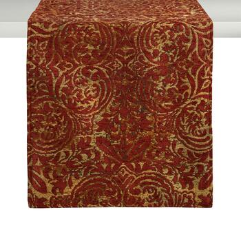 Burgundy Damask Chenille Table Runner